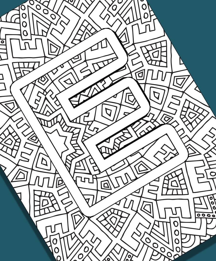 Alphabet adult coloring pages instant download letter e etsy