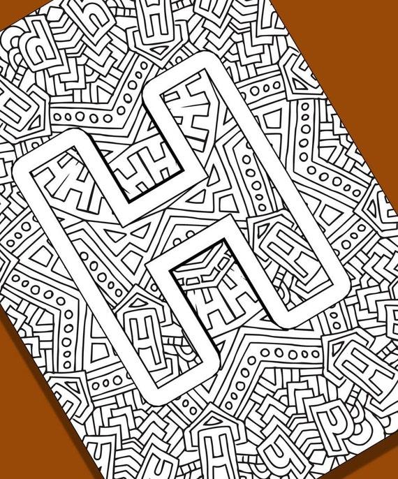 Alphabet Adult Coloring Pages Instant Download Letter H Etsy