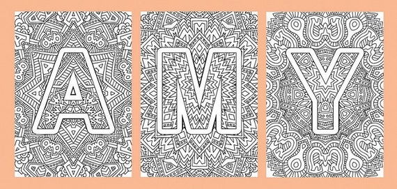 Alphabet Adult Coloring Pages Instant Download PDF