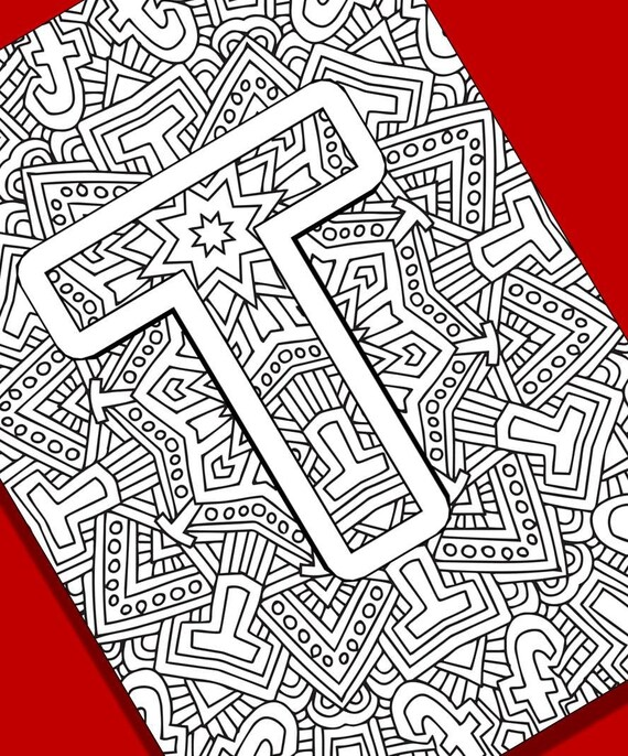 Alphabet Adult Coloring Pages Instant Download Letter T Etsy