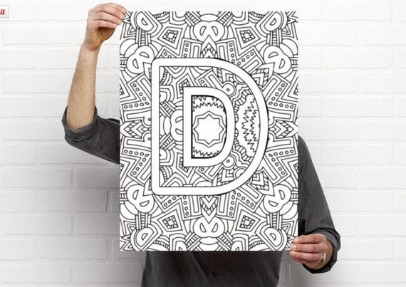 Alphabet Adult Coloring Pages Instant Download Letter D Etsy