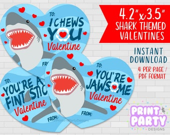 valentine PRINTABLE Whimsical /'/' You are fin-tastic /'/' Cute Shark birthday friendship love card