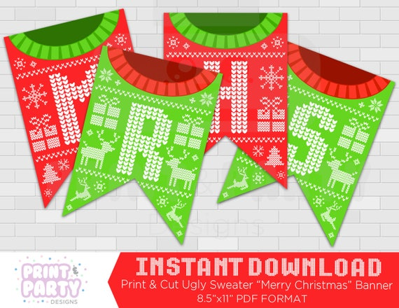 picture about Merry Christmas Banner Printable titled Printable Unpleasant Sweater Banner - Unappealing Sweater Merry Xmas