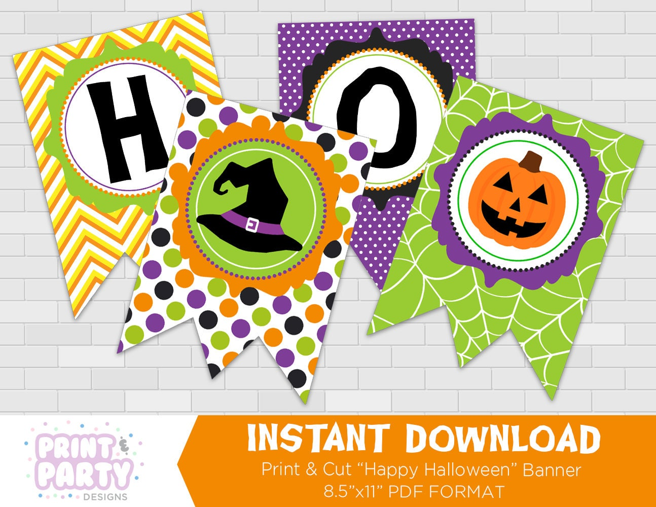It is a graphic of Zany Happy Halloween Banner Printable