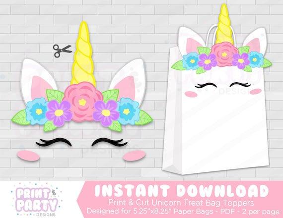 picture about Printable Paper Bags identify Printable Unicorn Celebration Like Baggage, Rainbow Unicorn Bash