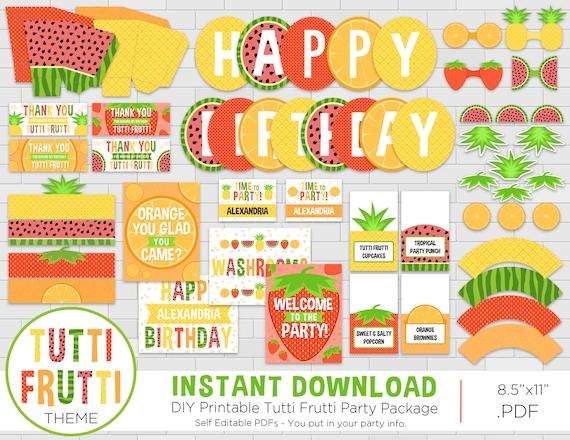 Tutti Frutti Birthday Party Package Fruit Theme Tutti Frutti