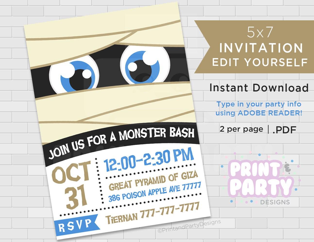 Printable Mummy Halloween Party Invitations 5x7 Halloween | Etsy