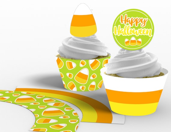 graphic about Candy Corn Printable referred to as Printable Sweet Corn Halloween Cupcake Toppers and Wrappers, Little ones Halloween Get together, Sweet Corn Cupcakes, Instantaneous Obtain