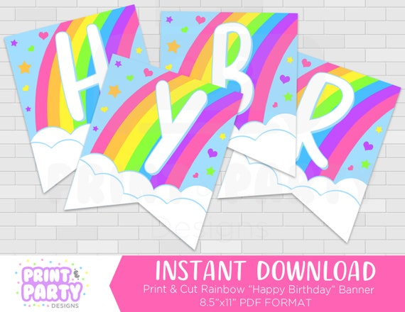 Printable Rainbow Happy Birthday Party Banner Rainbow Birthday Party Decorations Rainbow Party Supplies Rainbow Bunting Instant Download By Print Party Designs Catch My Party