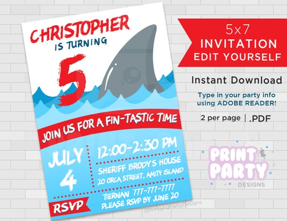 Printable Boys Shark Birthday Party Invitations Great White Invites Week Edit Yourself Instant Download