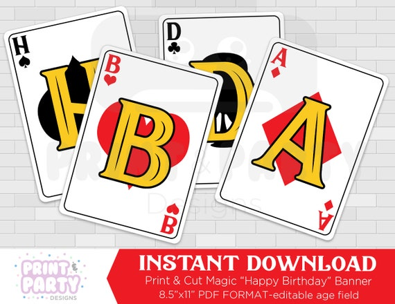 image about Printable Playing Cards Pdf named Printable Magic Actively playing Card Pleased Birthday Banner, Boys