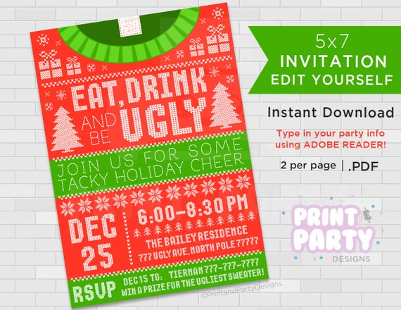 Printable Ugly Sweater Invitations Tacky Sweater Invitations
