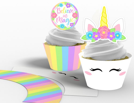photo relating to Unicorn Horn Printable referred to as Printable Lady Unicorn Horn Cupcake Toppers and Wrappers