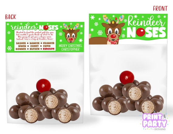 image relating to Reindeer Noses Printable named Printable Xmas Reindeer Noses Address Bag Toppers, Youngsters