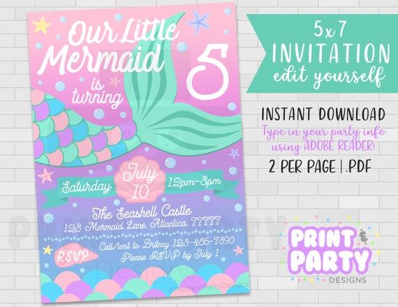 image regarding Mermaid Tail Printable named 5x7 Printable Mermaid Tail Birthday Social gathering Invitation