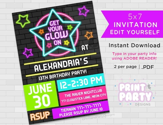 Printable Blacklight Neon Birthday Party Invitations Teen Glow Invites Edit Yourself Instant Download