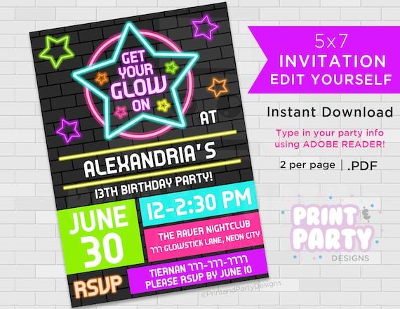 Printable Blacklight Neon Birthday Party Invitations Teen Glow