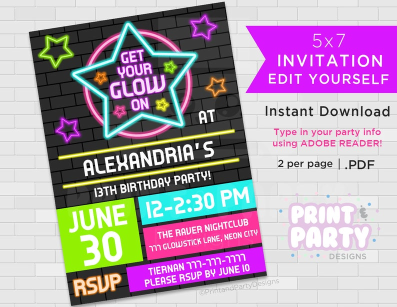 Printable Blacklight Neon Birthday Party Invitations Teen
