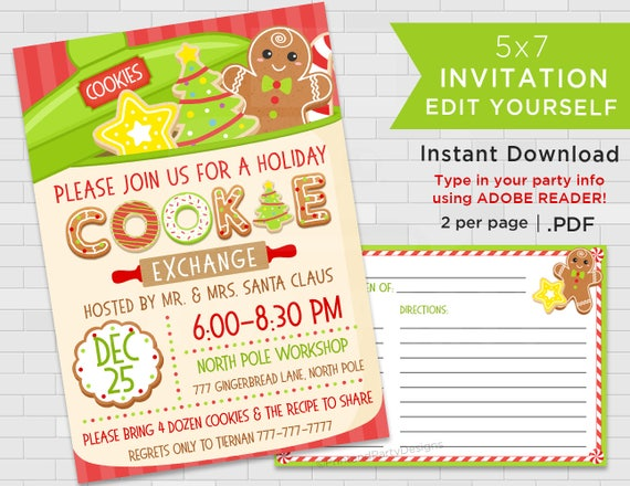 Printable Holiday Cookie Exchange Invitations Christmas Cookie Swap