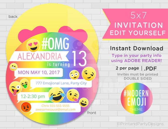 emoji birthday party invitations emoji invitations rainbow emoji