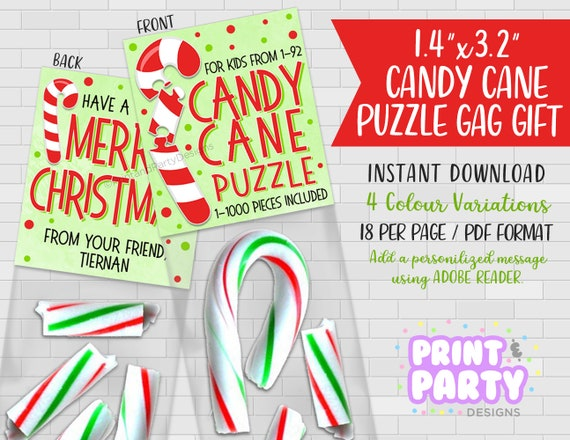 graphic about Printable Candy Cane named Printable Sweet Cane Puzzle Gag Present, Sweet Cane Bag Toppers