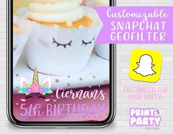 Custom Pastel Rainbow Unicorn Snapchat Geofilter Unicorn Birthday