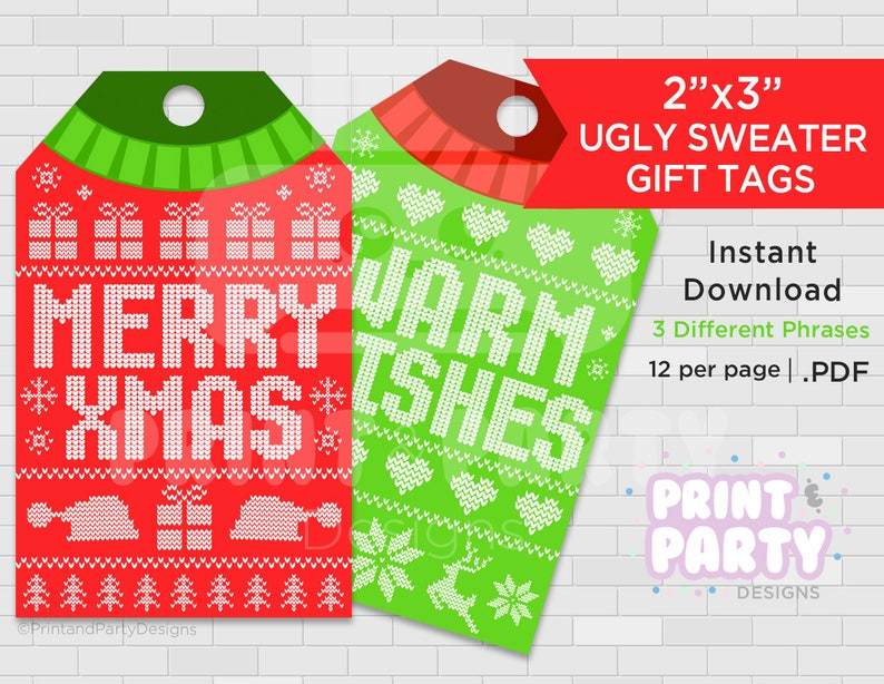 a465b2c950aa80 Printable Ugly Christmas Sweater Gift Tags Tacky Sweater Gift