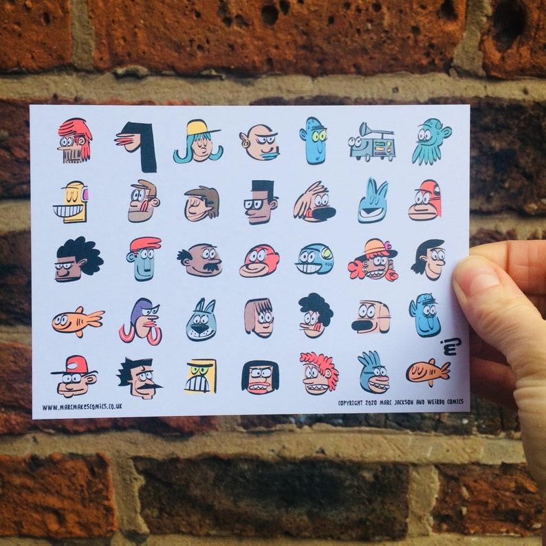 Faces A6 Postcard image 0