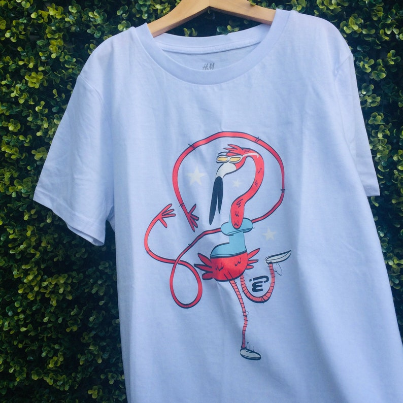 Dancing Flamingo Unisex White T-shirt Organic Cotton EUR image 0