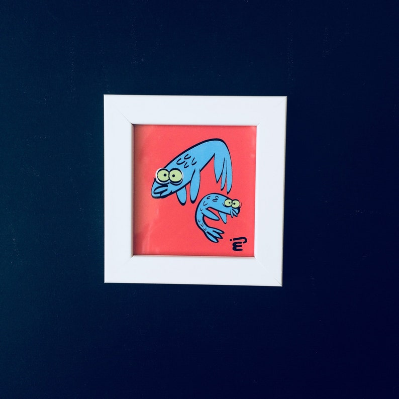 Mini Framed Cartoon Print Floppy Fishes  100x150 mm image 0