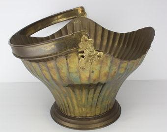 Vintage Large Solid Brass Basket | Planter