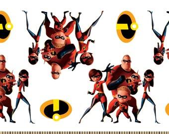 Disney Pixar Incredibles 2 Fabric By The Cut | DIY Face Mask | 100% Cotton | White | Red | Black | Fat Quarter | 1/4 Yard | 1/2 Yd | 1 Yard