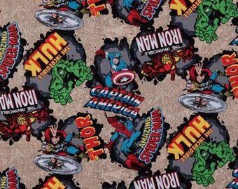 Marvel Avengers Comic Burst Fabric By The Cut | DIY Face Mask | Cotton | Hulk | Spider-Man | Fat Quarter | 1/2 Yard | 1 Yard