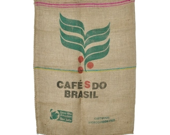 Vintage Used Burlap Coffee Bags 100% Jute Sacks Cafe Brasil Red Green Black Brazil Number Writing Natural Beige Fiber Craft Projects