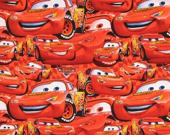 Disney Cars Fabric By The Cut | DIY Face Mask | 100% Cotton | Lightning McQueen | White | Red | Black | Fat Quarter | 1/4 Yard | 1 Yard