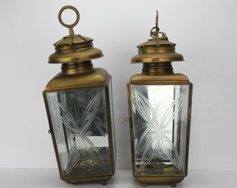 Vintage Pair of Brass Candle Lamps | Etched Glass Panels | Mirrored Back | Farmhouse Decor | Covered Lighting | Hanging Candle Light