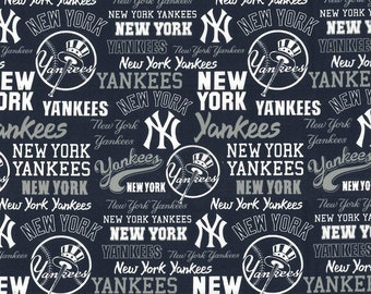 New York Yankees Fabric By The Yard | Cotton DIY Face Mask | MLB Baseball | Blue | White | Red | Fat Quarter | 1/2 Yard | 3/4 Yard | 1 Yard