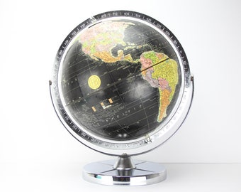 "Vintage Replogle For Encyclopedia Britannica Black Globe | World Map | Double Axis | Chrome Metal Base | Earth Spinning 12"" Inch Diameter"