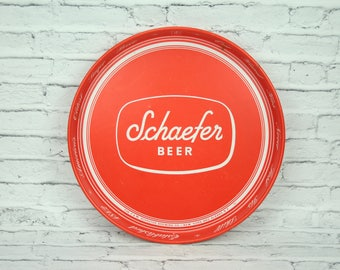 Vintage F&M Schaefer Brewing Company Lager Beer Metal Serving Tray Red White Graphics Breweries Albany New York NY Made in the USA Bar Man