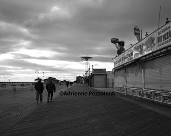 Brooklyn Boardwalk Coney Island Beach Concession Stands Photography Black & White Photo Images New York NYC Photograph