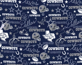 Dallas Cowboys Fabric By The Yard | DIY Face Mask | Cotton | NFL Football | Blue | White | Gray | Fat Quarter | 1/4 Yard | 1/2 Yard | 1 Yard