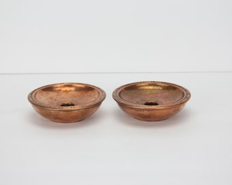 Vintage Pair of Anderschou Copper Candlesticks | Holds Small Taper Candles
