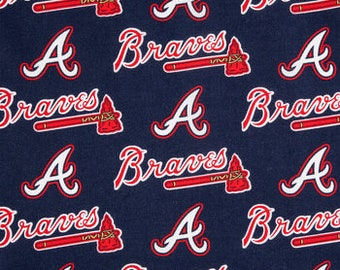 Atlanta Braves Fabric By The Cut | DIY Face Mask | Cotton | MLB Baseball | Blue | White | Red | Fat Quarter | 1/2 Yard | 1 Yard