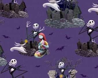 The Nightmare Before Christmas Fabric By The Cut | DIY Face Mask | 100% Cotton | Halloween Print | Jack Skellington | Fat Quarter | Yard