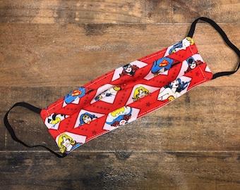 Wonder Woman | Supergirl | Batgirl | Face Mask | 100% Cotton | Double Layer | Children's Mask | Adult Mask | Justice League | DC | Comics