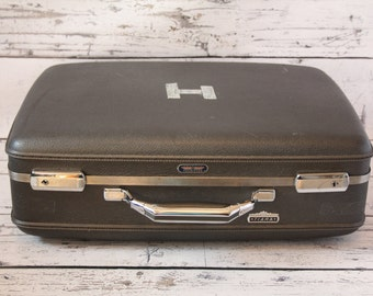Vintage American Tourister Tiara Dark Grey Travel Carry-On Suitcase Hard Luggage Textured With Grey & Beige Floral Fabric Interior Black