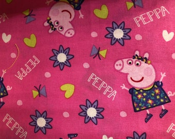 Peppa Pig Face Mask | Custom Made | 100% Cotton | Double Layer | Children's Mask | Adult Mask | Pink Pigs
