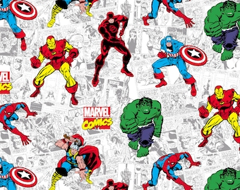 Marvel Avengers Fabric By The Yard | DIY Face Mask | Cotton | Hulk | Spider-Man | Fat Quarter | 1/4 Yard | 1/2 Yard | 3/4 Yard | 1 Yard