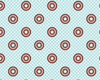 Marvel Avengers Kawaii Captain America Fabric By The Cut | DIY Face Mask | Cotton | Fat Quarter | 1/4 Yard | 1/2 Yard | 1 Yard