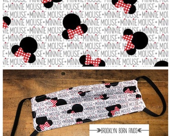 Minnie Mouse Face Mask | 100% Cotton | Double Layer | Washable | Children's Mask | Adult Mask | Disney Print | Reusable | Cloth Mask | Kids
